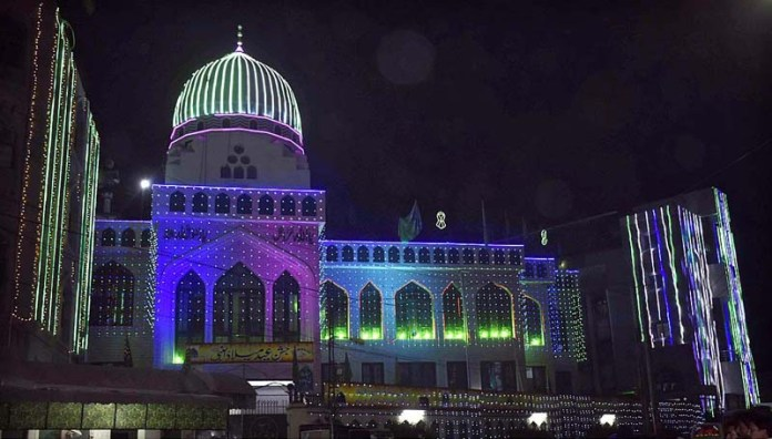 FAISALABAD: October 21 - An illuminated view of a Masjid decorated with colourful lights in connection with Eid-e-Milad-un-Nabi (SAWW) celebrations. APP Photo by Muhammad Waseem