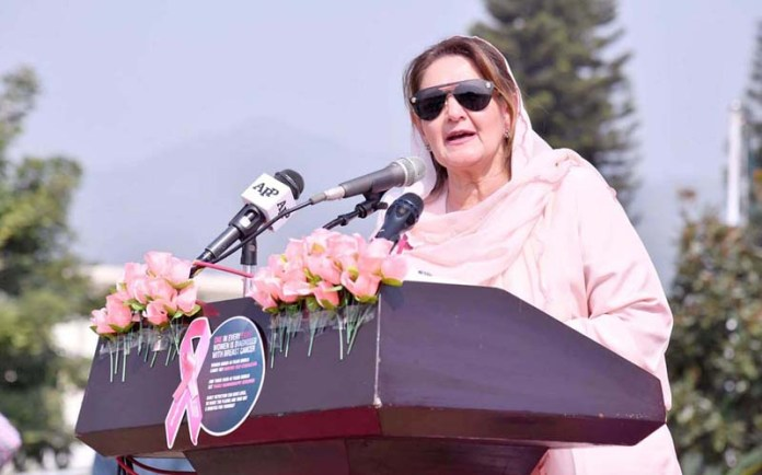ISLAMABAD: October 29 - Begum Samina Arif Alvi, addressing a ceremony to raise awareness about Breast Cancer and its treatment, in front of Parliament House. APP