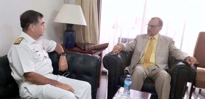 ISLAMABAD: October 29 - Director General Pakistan Maritime Security Agency, Rear Admiral Muhammad Shuaib HI(M) calls on Federal Minister For Narcotics Control, Muhammad Azam Khan Swati. APP