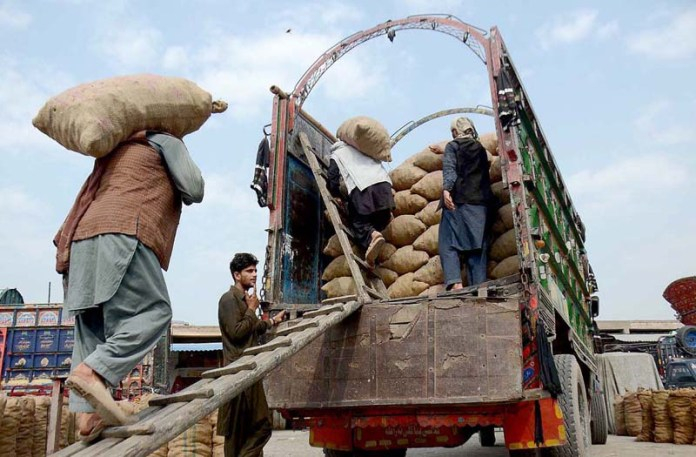 PESHAWAR: Oct 12 - Laborers busy in loading traditional sweet stuff Gur on a delivery truck at Gur Mandi. APP Photo by Shaheryar Anjum