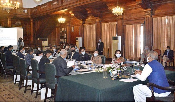 LAHORE: October 27 - President Dr. Arif Alvi chairing 10th meeting of Pakistan Institute of Fashion & Design (PIFD) at Governor House. APP photo by Rana Imran