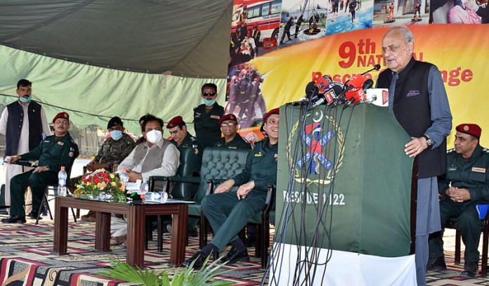 LAHORE: October 10 - Federal Minister for interior Brig (R) Ijaz Shah addressing the closing ceremony of 9th National Rescue Challenge. APP photo by Rana Imran