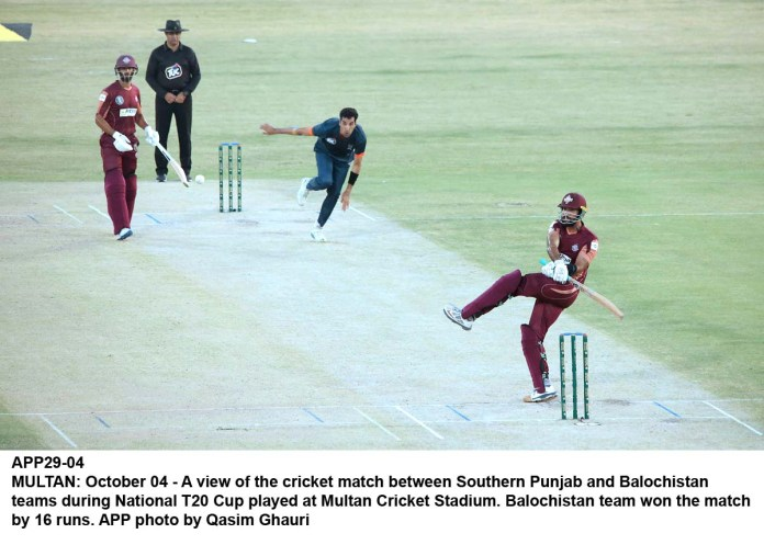 MULTAN: October 04 - A view of the cricket match between Southern Punjab and Balochistan teams during National T20 Cup played at Multan Cricket Stadium. Balochistan team won the match by 16 runs. APP photo by Qasim Ghauri