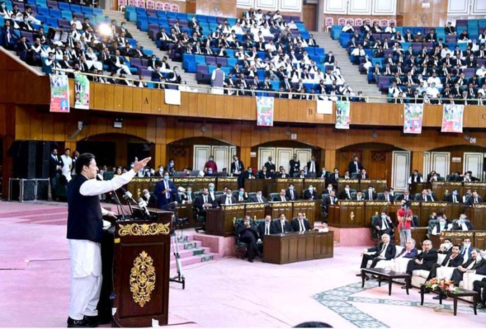 ISLAMABAD: October 09 – Prime Minister Imran Khan addressing at seminar of Insaf Lawyer Forum. APP