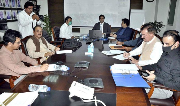 ISLAMABAD: October 16 - Chairman Task Force for Gems & Jewelry Sector, Engineer Gul Asghar Khan chair a meeting at Petroleum House. APP photo by Saleem Rana
