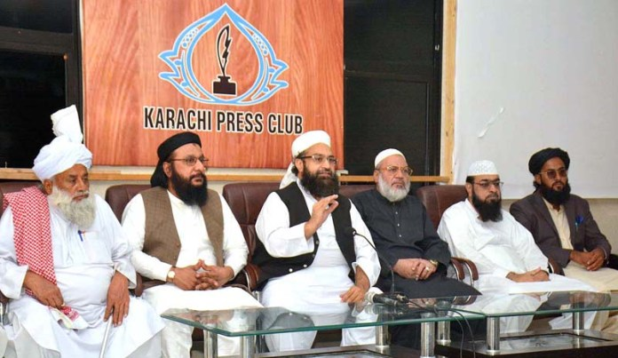 KARACHI: October 17- Special Representative to the Prime Minister On Religious Harmony Chairman Pakistan Ulema Council Hafiz Tahir Mehmood Ashrafi addressing a press conference at Press Club in Provincial Capital. APP photo by M Saeed Qureshi
