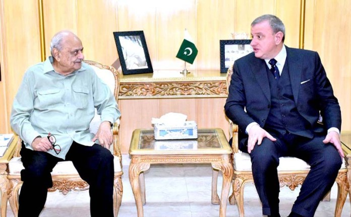 ISLAMABAD: October 29 - Federal Minister for Interior, Brig (R) Ijaz Ahmad Shah in a meeting with the Ambassador of Italy, H.E. Andreas Ferrarese at the Ministry of Interior. APP