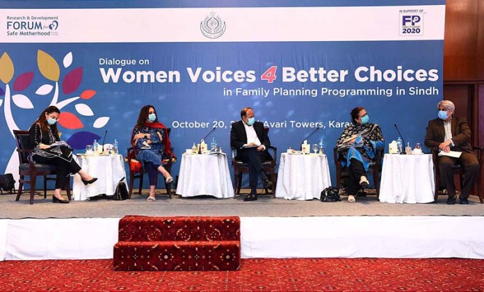 "KARACHI: October 20 - Technical Advisor, Population Welfare Department Sindh Dr. Talib Lashari speaks during dialogue on ""Women Voices Four Better Choices"" in Family Planning Programs. APP Photo by Syed Abbas Mehdi"