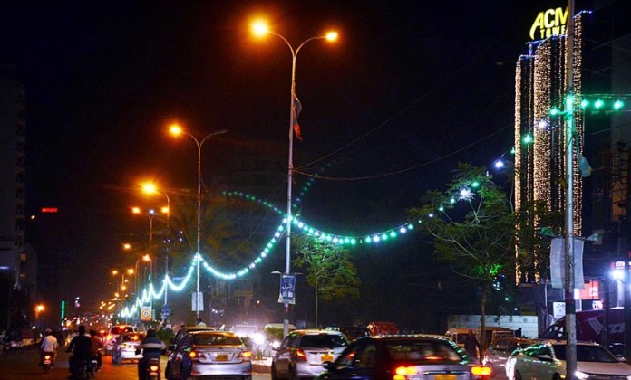 KARACHI: October 23 – An illuminated view of a street decorated with colourful lights in connection with Eid-e-Milad-un-Nabi (SAWW) celebrations. APP photo Abbas Mehdi