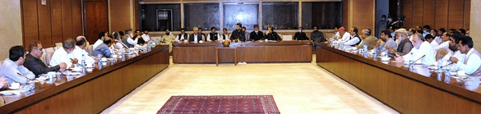 ISLAMABAD: October 06 - Deputy Speaker National Assembly Qasim Khan Suri in a meeting with Federal All Pakistan Clerks Association (APCA) office bearers regarding federal employees issues at Parliament House. APP