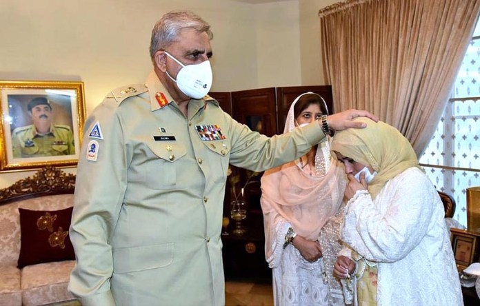 ISLAMABAD: October 07 - General Qamar Javed Bajwa, Chief of Army Staff (COAS) and Begum COAS visiting the family of Colonel Mujeeb Ur Rehman (Shaheed) who embraced Shahadat during an IBO in Tank. COAS offered Fateha and prayed for departed soul. APP