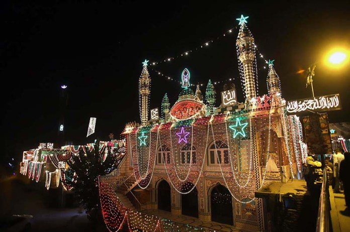 RAWALPINDI: October 26 – An illumination view of buildings decorated with colourful lights in connection with upcoming Eid Milad-un-Nabi (PBUH) celebrations. APP photo by Abid Zia