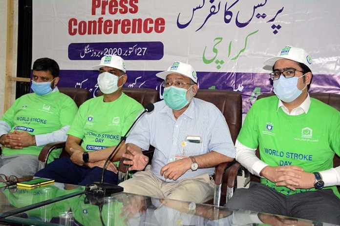 KARACHI: October 27 - President Neurology Awareness and Research Foundation Dr. Mohammad Wasay addressing a press conference on Paralysis awareness, diagnosis care and prevention of disease on World Paralysis Day at Press Club. APP photo by Saeed Qureshi