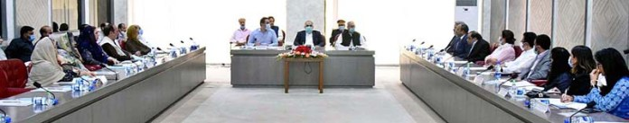 ISLAMABAD: October 21 - Speaker National Assembly Asad Qaiser chairing meeting of Special Committee on Disabled Persons at Parliament House. APP
