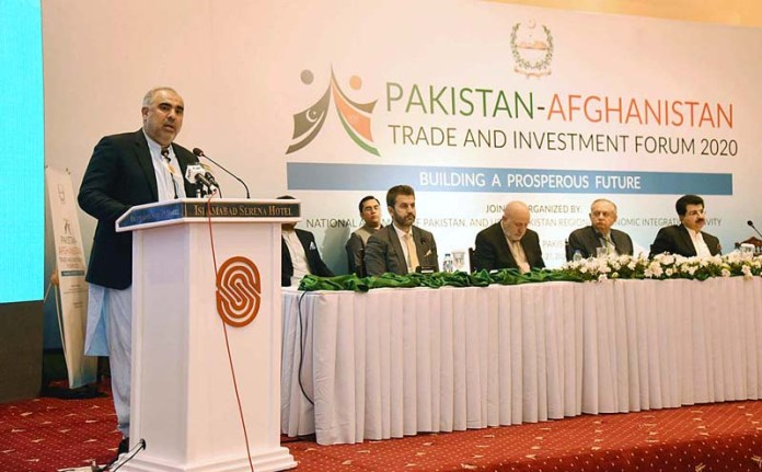 ISLAMABAD: October 27 - Speaker National Assembly Asad Qaiser addressing the participants of concluding session of Pakistan-Afghanistan Trade and Investment Forum 2020. APP