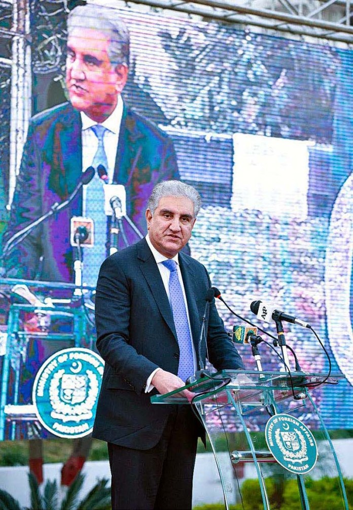 ISLAMABAD: October 27 - Foreign Minister Makhdoom Shah Mahmood Qureshi speaking at the occasion of Kashmir Black Day event at Ministry of Foreign Affairs. APP