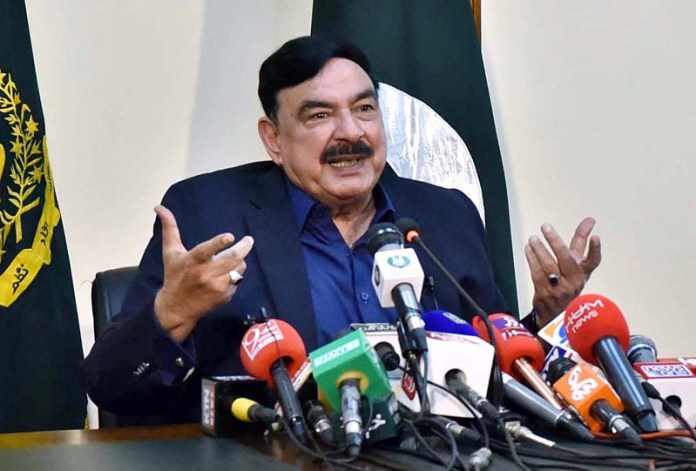 Federal Minister for Railways Sheikh Rashid Ahmed addressing a press conference at Ministry of Railways