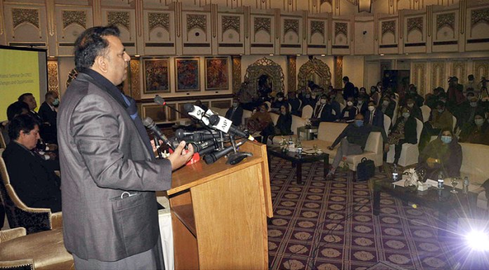 Federal Minister for Science and Technology, Fawad Ahmed Chaudhry addressing during national seminar on CPEC: Challenges & Opportunities organized by National Parliamentary Task Force on Sustainable Development Goads and Convener Senate Special Committee on National Cohesion