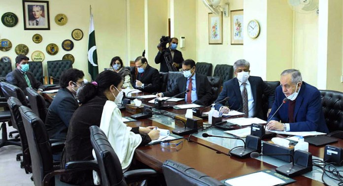 Advisor to Prime Minister on Commerce & Investment Abdul Razak Dawood in a meeting with private sector stakeholder on proposed PTA with Afghanistan at Committee Room, Ministry of Commerce
