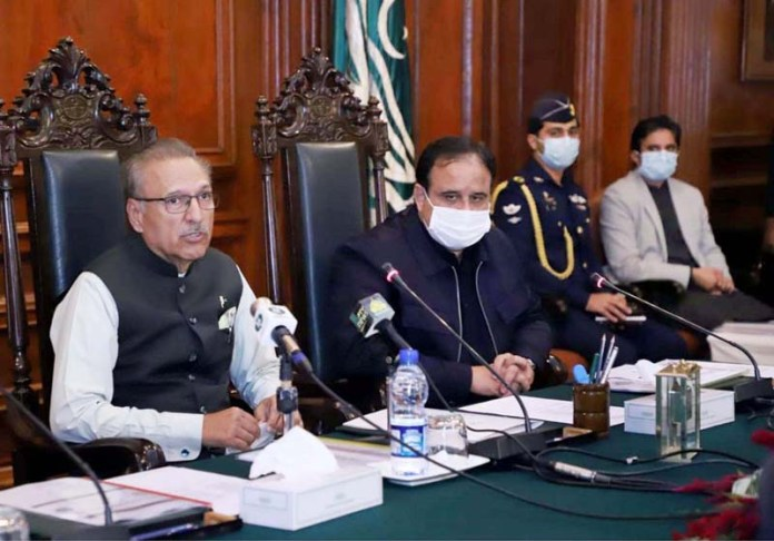 President Dr. Arif Alvi presiding a briefing on Population Welfare at Governor House