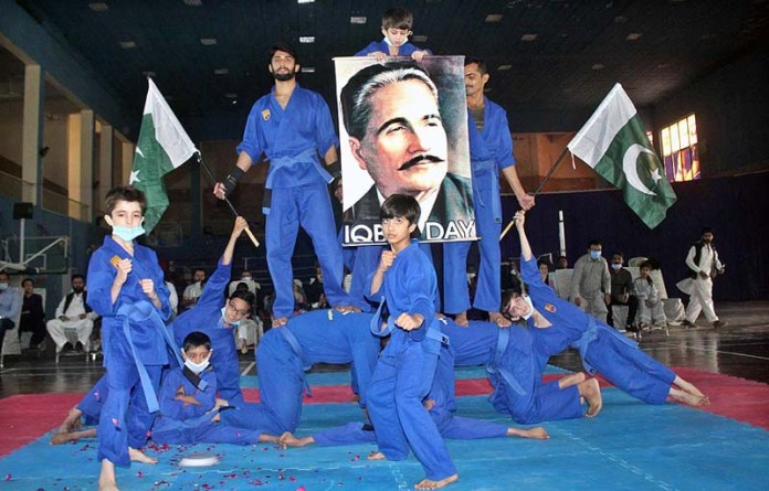 MULTAN: November 08 - Players demonstrating their skills during District Vovinam Championship 2020 to mark with Iqbal Day celebrations at Sports Gymnasium. APP photo by Tanveer Bukhari