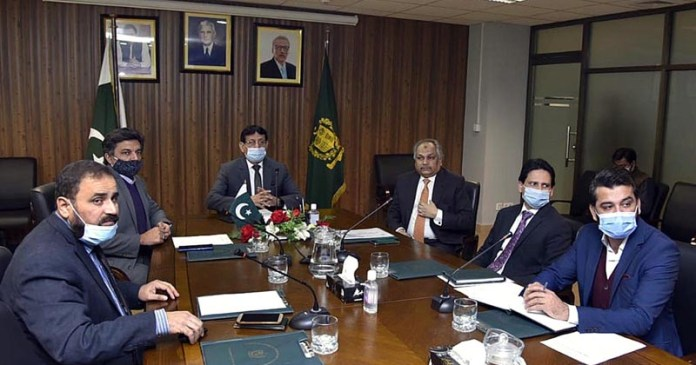 Federal Minister for IT and Telecommunication Syed Amin Ul Haque chairing briefing on e-office