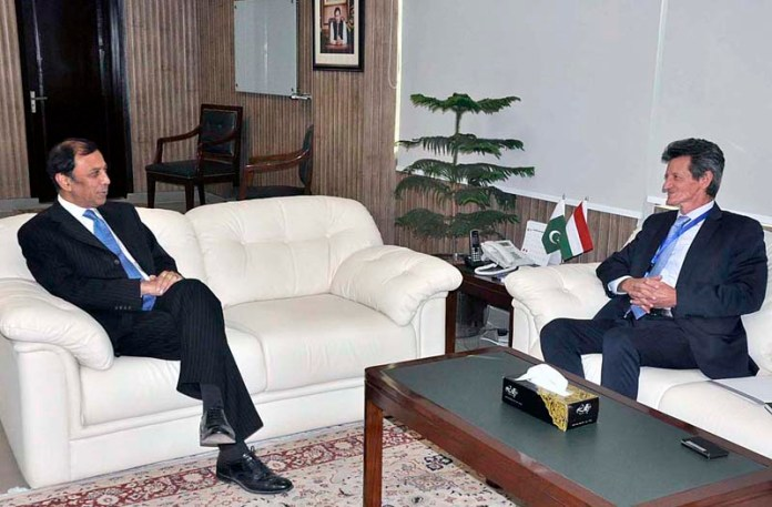 MoS/Chairman, Board of Investment Atif R. Bokhari meeting with H.E. Bela Fazekas, Ambassador of Hungary at his office