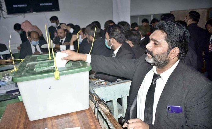 Lawyers casting their ballots during Punjab Bar Council elections
