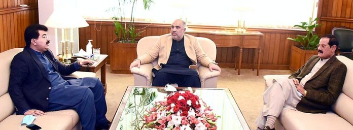 Speaker National Assembly Asad Qaiser in a meeting with Chairman Senate Sadiq Sanjrani and Speaker KPK Assembly Mushtaq Ghani at Parliament House