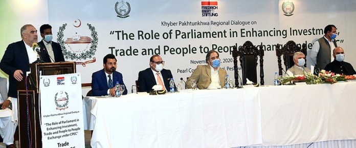 """Speaker National Assembly Asad Qaiser addressing the inaugural ceremony of regional dialogue organized by parliamentary committee on CPEC on """"The Role of Parliament in Enhancing Investment, Trade and People to People Exchange under CPEC"""