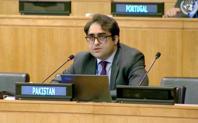 "NEW YORK: November 11 - Jehanzeb Khan, First Secretary at the Pakistan Mission to the UN introducing Pakistan's resolutions tabled in the first committee cluster 6: ""regional disarmament"". APP"