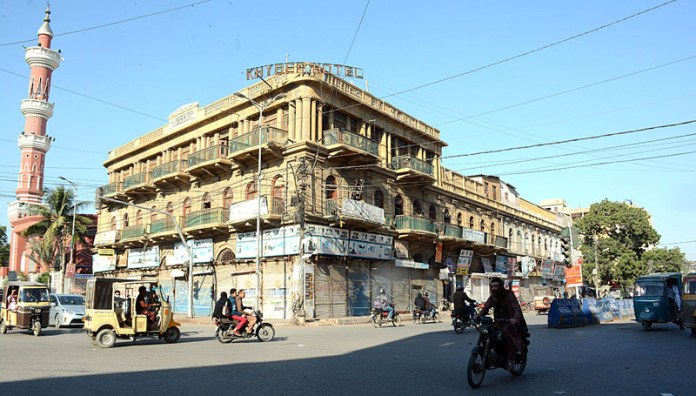 A view of closed shops of main Saddar area during lockdown imposed by Sindh government to protect from COVID-19 pandemic
