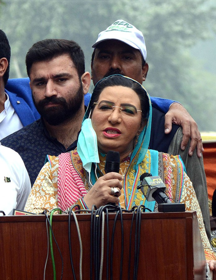 Special Assistant to CM Punjab on Information and Broadcasting Dr Firdous Ashiq Awan talking to media persons after inauguration of different development projects at PP167 constituency.