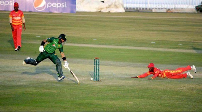RAWALPINDI: November 01 - A view of cricket match played between Pakistan and Zimbabwe teams during 2nd One-Day International (ODI) cricket match at Rawalpindi Cricket Stadium. APP photo by Abid Zia