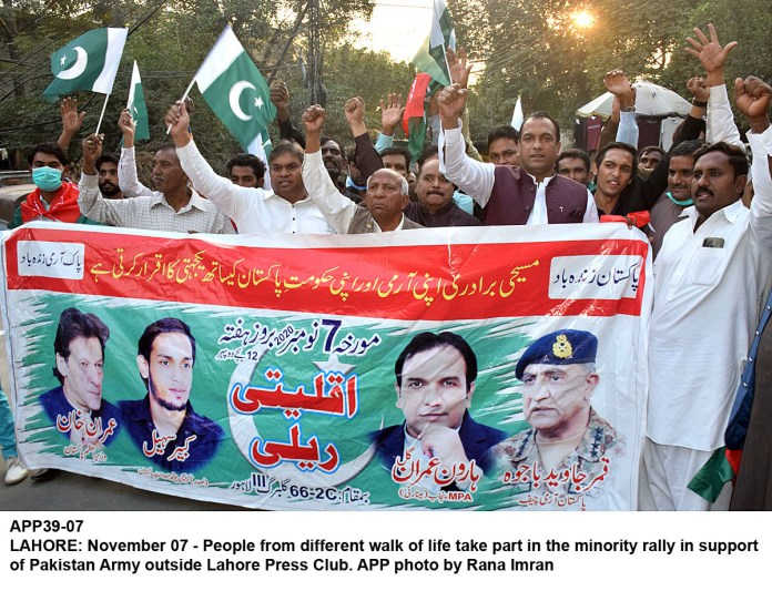 LAHORE: November 07 - People from different walk of life take part in the minority rally in support of Pakistan Army outside Lahore Press Club. APP photo by Rana Imran
