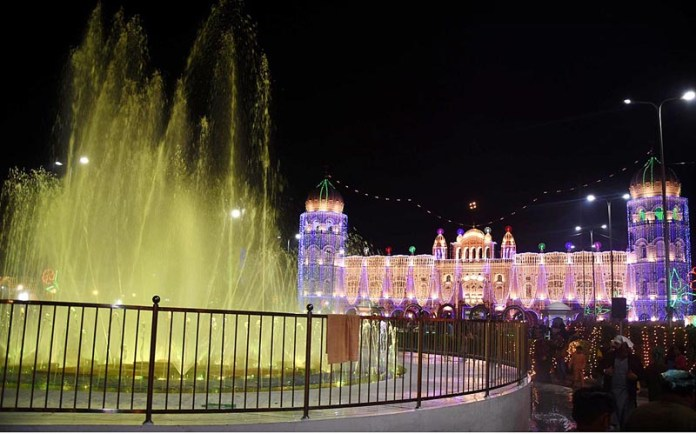 An illuminated view of Gurdwara Janam Asthan on the occasion of 551st birth Anniversary of Guru Nanak Dev as large number of Sikh yatrees arrives to perform their religious rituals