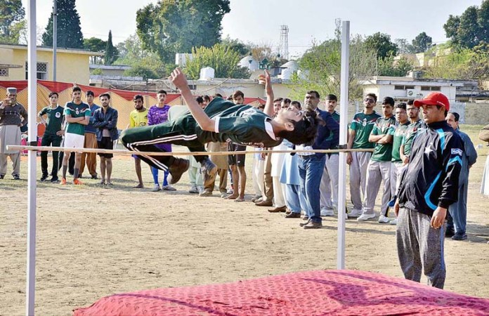 Student participating in different games during Inter-College/School Athletic Meet 2020 organized by Sports Department at Quaid-e-Azam Stadium