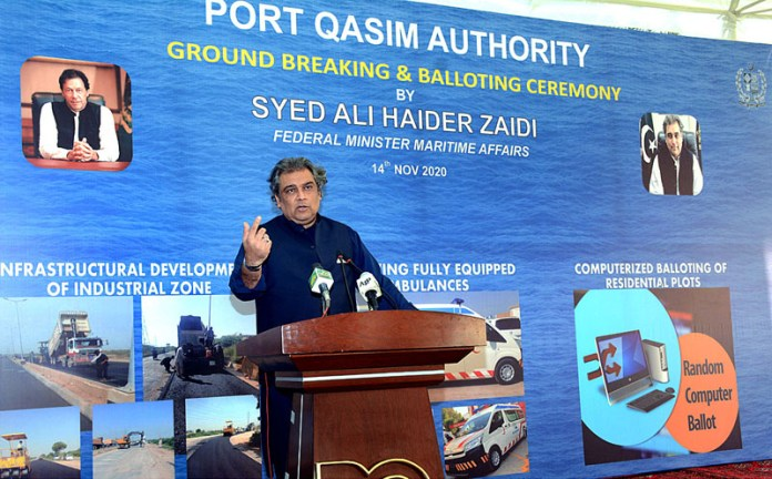 Federal Minister Maritime Affairs Syed Ali Haider Zaidi addressing during the inauguration of the ground breaking of Infrastructure Development Projects Port Qasim Industrial Zone at Port Qasim