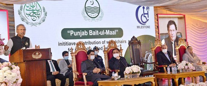 President Dr. Arif Alvi addressing to wheel chair distribution ceremony at Governor House