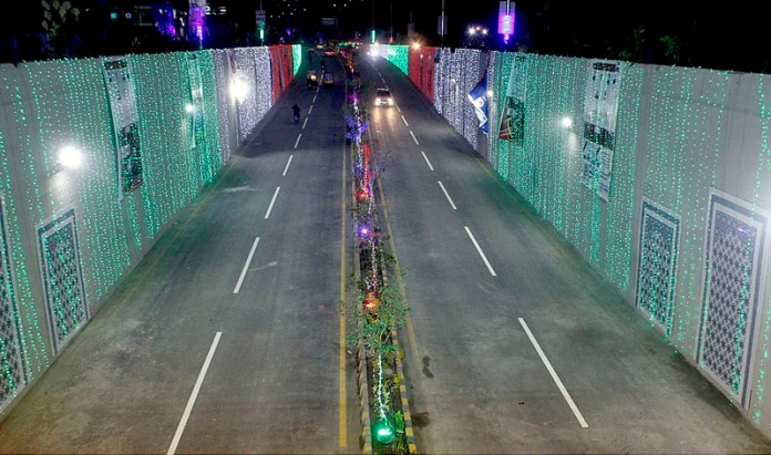 view of newly inaugurated Lal Shahbaz Qalandar (Firdous Market) underpass decorated with colourful lights