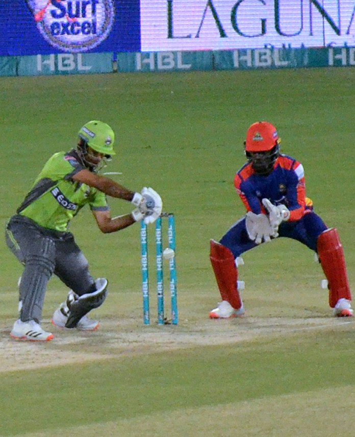 A view of match between Lahore Qalandars and Karachi Kings during final match of Pakistan Super League (PSL) Twenty20 played at the National Stadium