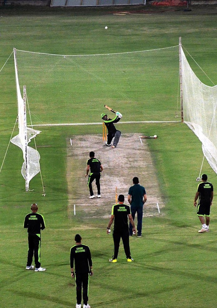 KARACHI: November 10 - A view of Lahore Qalandars' team during practice session at the National Stadium for the playoffs and the final of the Pakistan Super League 2020 to be played from 14-17 November. APP Photo by Abbas Mehdi