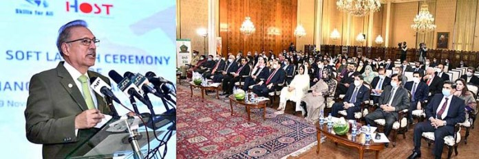 ISLAMABAD: November 09 - President Dr. Arif Alvi, addressing the soft launch ceremony of Financial Pakistan Expo, 2020, at Aiwan-e-Sadr. APP