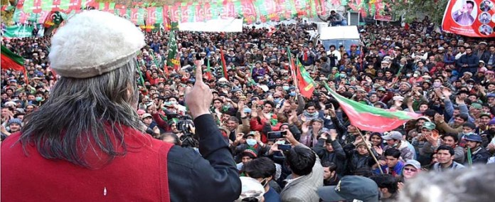 GHANCHE: November 10 - Federal Minister for Kashmir Affairs and Gilgit-Baltistan Ali Amin Gandapur addressing a huge public gathering. APP