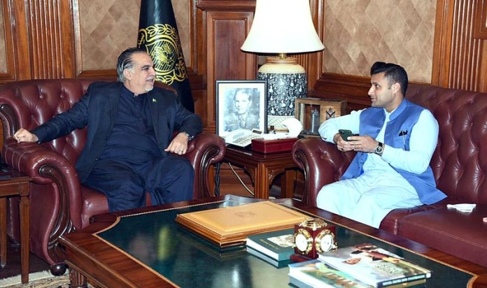 Sindh Governor Imran Ismail in a meeting with Special Assistant to PM for Overseas Pakistanis Zulfiqar Bukhari in Governor House