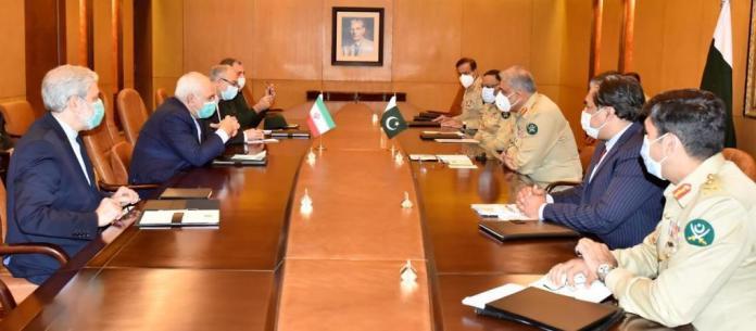Iranian Foreign Minister Jawad Zarif meets COAS Gen Qamar Jawed Bajwa at GHQ