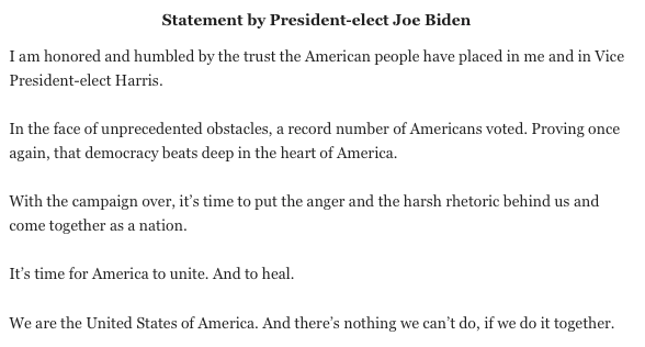 Statement by US President elect Joe Biden