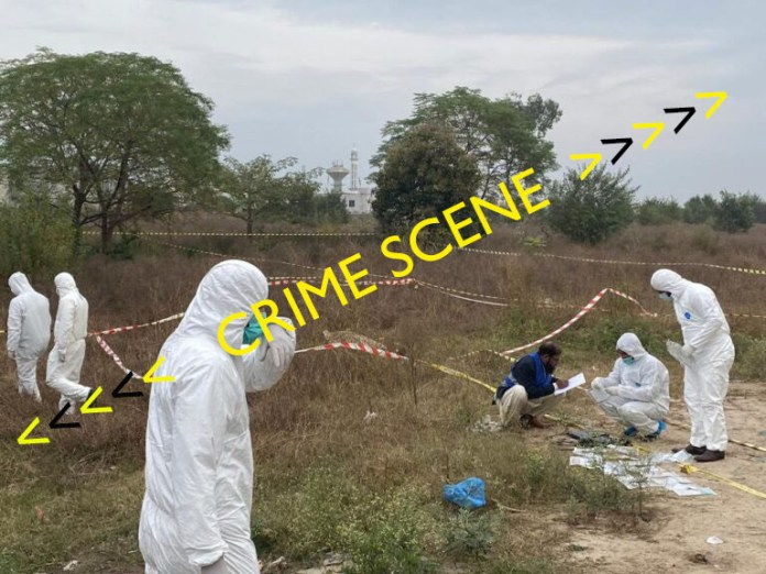 Forensic experts sifting the site after taking down a would-be suicide bomber