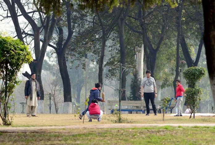 A family playing cricket in Rose and jasmine garden