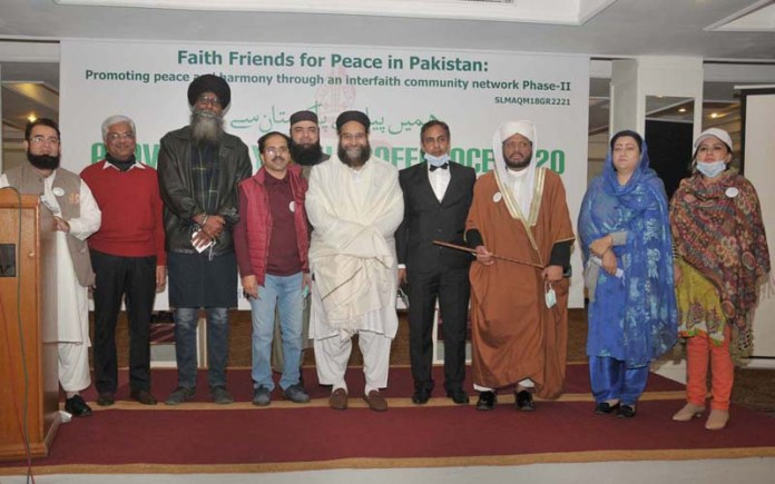 Hafiz Tahir Mehmood Ashrafi, Chairman Pakistan Ulema Council & Muttahida Ulema Board (Special Representative to the Prime Minister on Religious Harmony to Pakistan & Middle East) in a group photograph during Provincial Youth Conference 2020